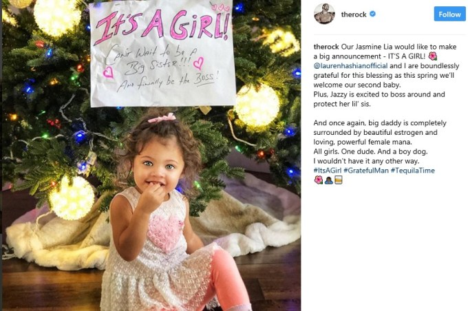 The Rock announces he is expecting second child with girlfriend Lauren Hashian