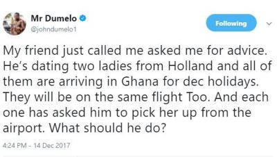 John Dumelo needs advice for his friend?who