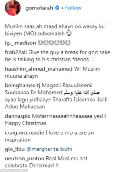 Muslims attack British athlete Mo Farah online for celebrating Christmas