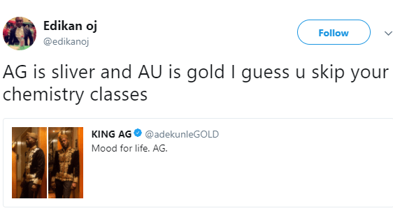Twitter user threatens to sue adekunle gold over the periodic twitter user threatens to sue adekunle gold for using the wrong chemical symbol for urtaz Gallery