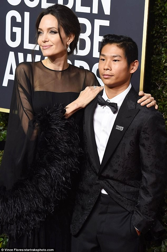 Angelina Jolie brought 14-year-old son as her date to the Golden Globes Award last night (Photos)