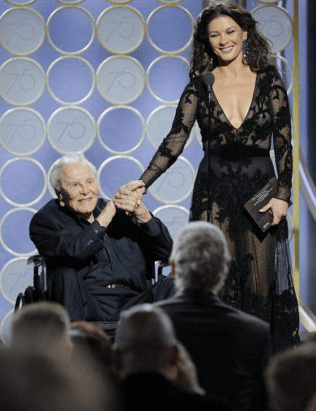 Hollywood legend Kirk Douglas, 101, gets a standing ovation as he steals the show with daughter-in-law Catherine Zeta Jones at Golden Globes