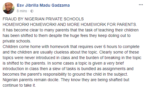 Angry Nigerian dad calls out private schools for giving students too much homework, says responsibility of teaching has now been shifted to parents