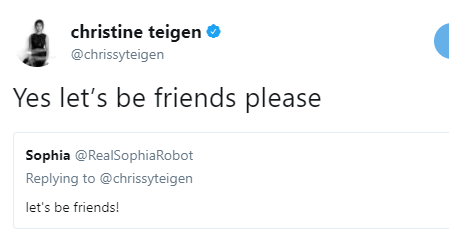 Lool! Chrissy Teigen and Sophia the Robot make peace on twitter after Chrissy criticized her makeup