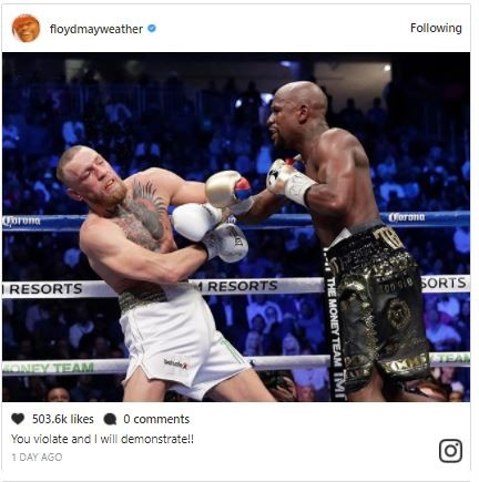 5a590a4ce575c - Lol...Floyd Mayweather and Conor McGregor drag each other on social media, share photos from their mega fight to mock each other (Photos)