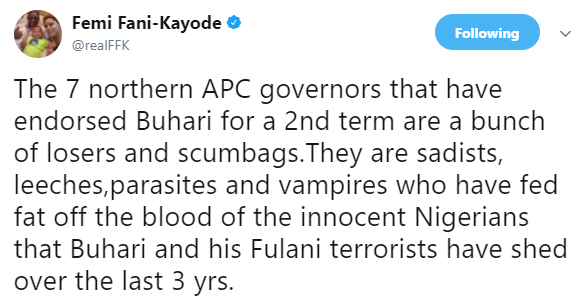 5a5a258ebff1f - ''They are sadists, leeches,parasites and vampires'' FFK blast 7 APC governors that have endorsed Pres. Buhari for a 2nd term