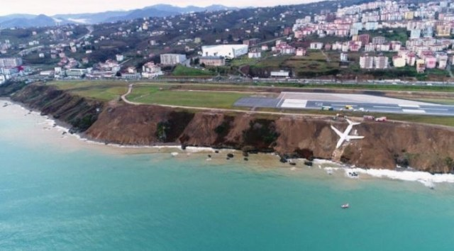 Image result for Plane carrying 162 passengers skids off a runway and ends up stopping just feet from a sea in Turkey (Photos)