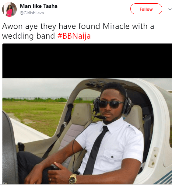 #BBN2018 contestant, Miracle shuts down reports that he is married after Nigerians dug out photos of him rocking a wedding band
