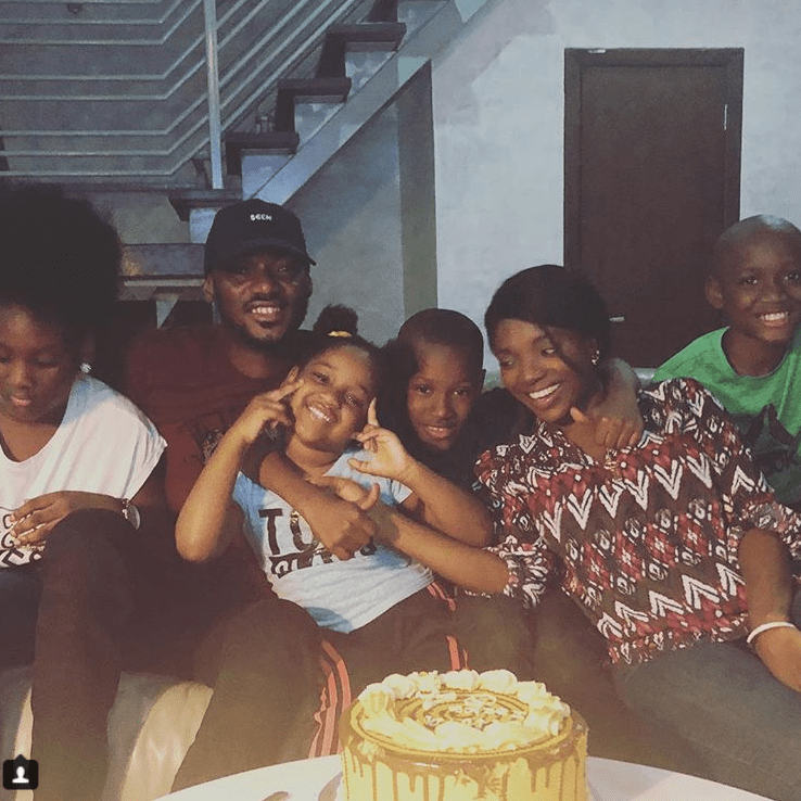 Cute family photo of 2face, his wife Annie and his children