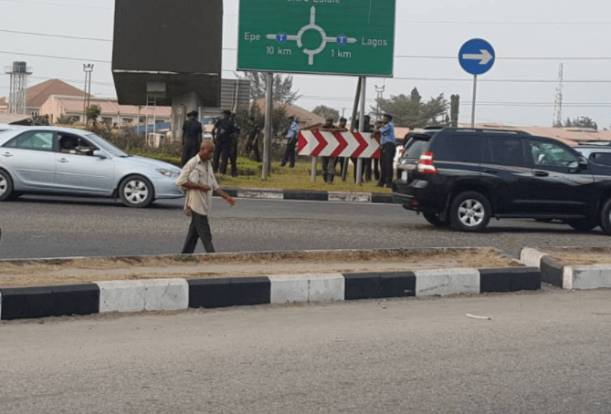 Photos: Heavy police presence at Lekki toll gates ahead of planned protest