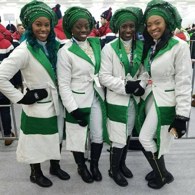 Winter Olympics 2018: Nigerian Bobsled Team make grand entrance, rock gele (Photos)