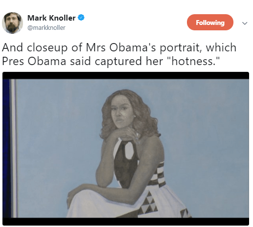 5a82c362dec09 - Barack Obama still has the hots for Michelle and his reaction to her official portrait is proof