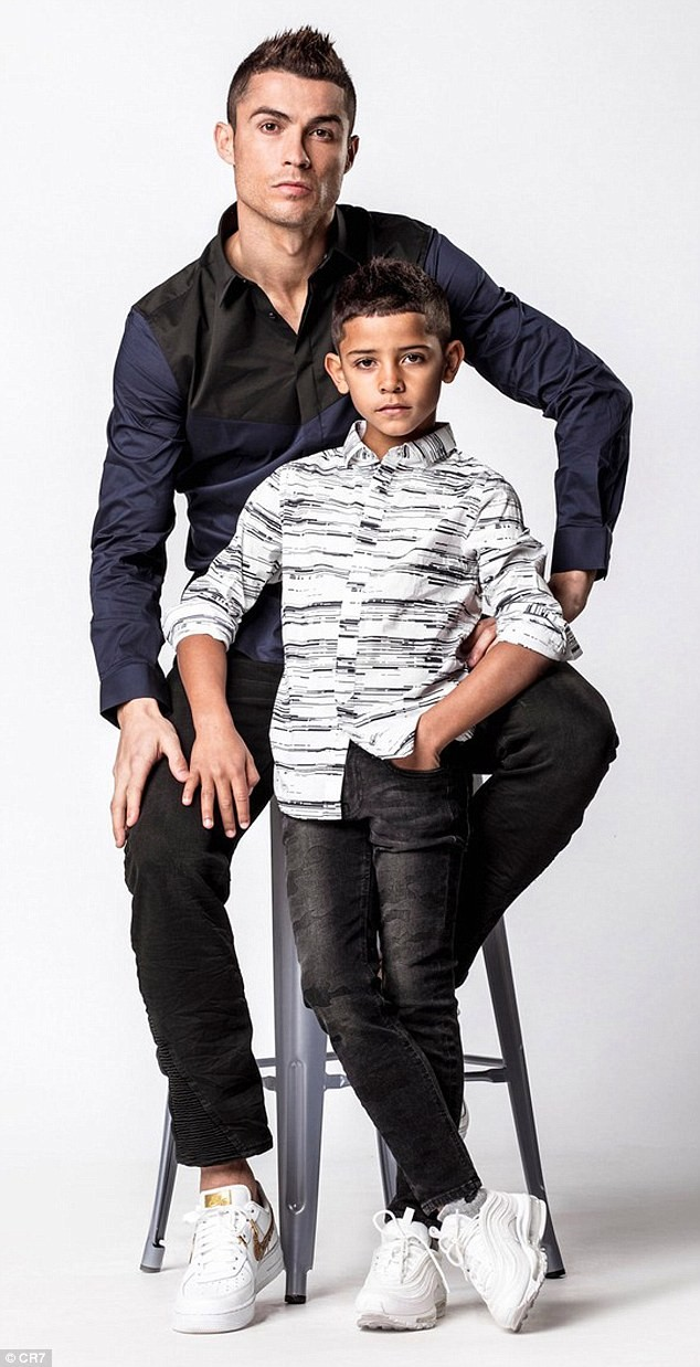 5a830c21b3929 - Father & Son: Cristiano Ronaldo and Cristiano Jr rock matching denim to promote their new clothing campaign (Photos)
