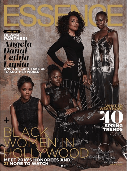 """5a83f939d50ca - """"Black Panther"""" cast cover Essence Magazine's March 2018 issue (photos)"""