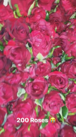 Aww! Temi Otedola shows off the 200 roses she got from her boyfriend, Mr Eazi for Valentine