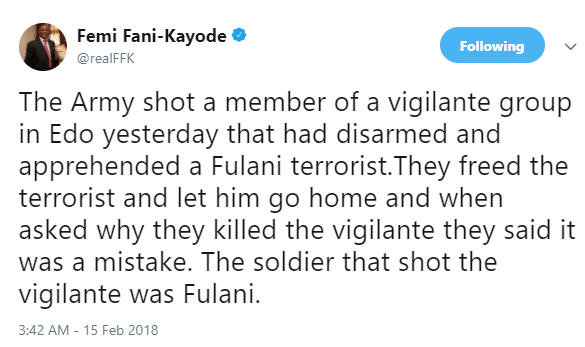 5a851d7323706 - 'A Fulani army shot a member of a vigilante group who had disarmed and apprehended a Fulani terrorist in Edo State - FFK alleges