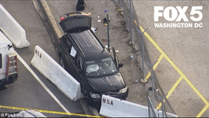 5a85432906331 - 3 injured and 3in custody after SUV tries to ram gate at National Security Agency and is stopped by police officers who shot at its windshield