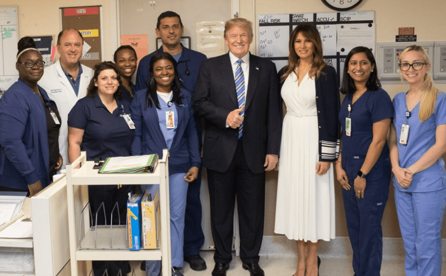 Photos: President Trump and wife visit survivors of the Florida school shooting