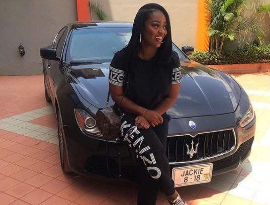 Ghanaian actress, Jackie Appiah shows off her newly acquired Maserati?