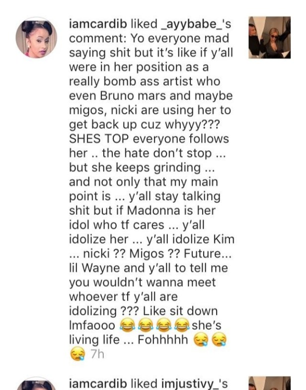 Cardi B likes a fan comment that said Bruno Mars is using her glittering career to stay relevant in the industry! Can you imagine?