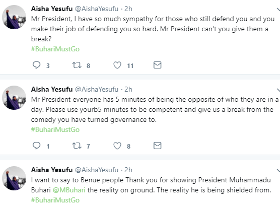 5aa7b90fe0e9b - ''If the President has no update on IGP, how do you expect him to have update on Shekau? Cluelessness is a disease'' AIsha Yesufu