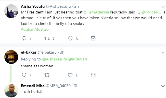 5aa7b9339bd57 - ''If the President has no update on IGP, how do you expect him to have update on Shekau? Cluelessness is a disease'' AIsha Yesufu