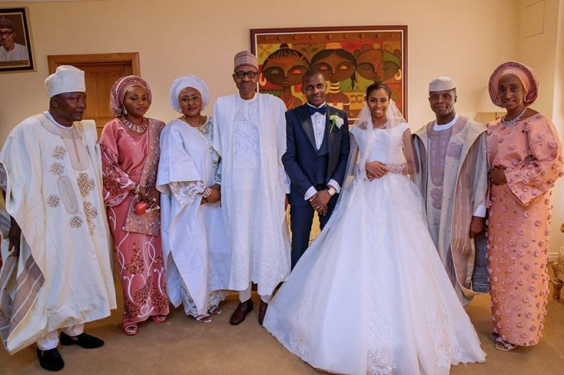 Photos: President Buhari and his wife, Aisha attend wedding reception of VP Yemi Osinbajo