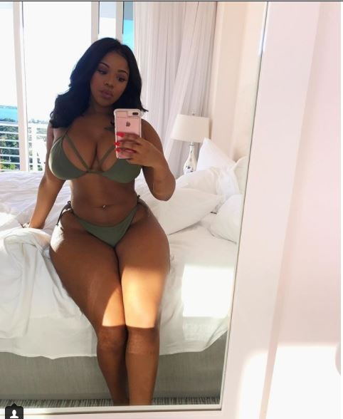 Meet the thick model who is driving people crazy with her massive curves, eye-popping boobs and fat camel toe (Photos)