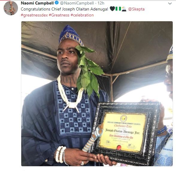 Naomi Campbell congratulates her boo Skepta after bagging Chieftaincy title in hometown in Ogun State