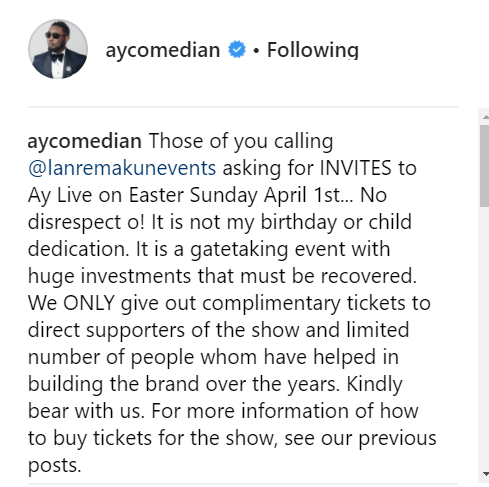 Industry sources say AY and his brother Lanre Makun nearly came to blows back-stage at AY Live?