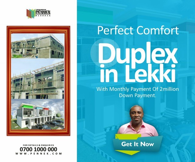 Own a CofO duplex in Lekki with 20m outright or (Pay-Up within 36months)