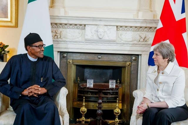 Photos/Video: President Buhari meets British Prime Minister, Theresa May
