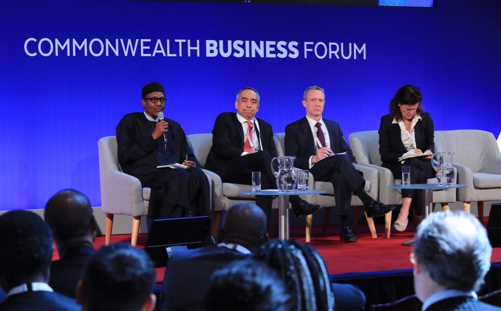 Photos from the Commonwealth Business Forum where President Buhari said Nigerian youths just want to sit and do nothing