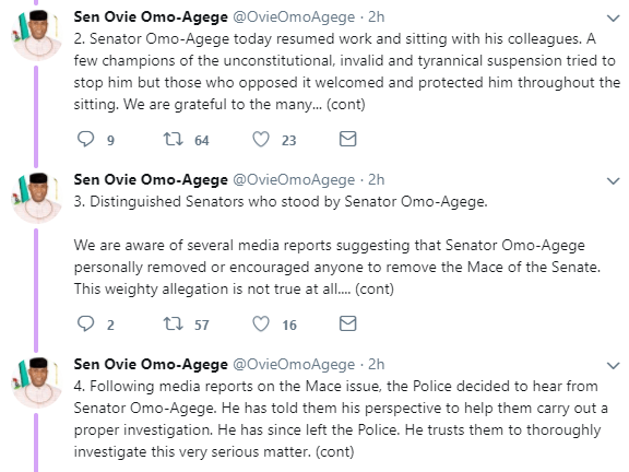Senator Omo-Agege denies he stole the mace and was arrested by the police, see his tweets