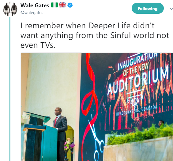Wale Gates trolls Deeper Life church for having  TV sets in their new auditorium after years of labeling it