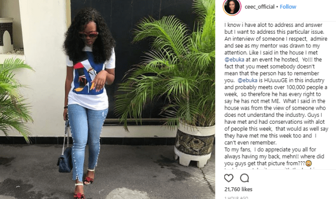Ceec addresses claims that she and Ebuka were friends before Big Brother Naija, says they only met at an event