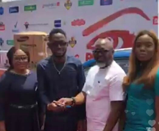 #BBNaija winner, Miracle, picks up his car prize, N25 million cheque (photos)