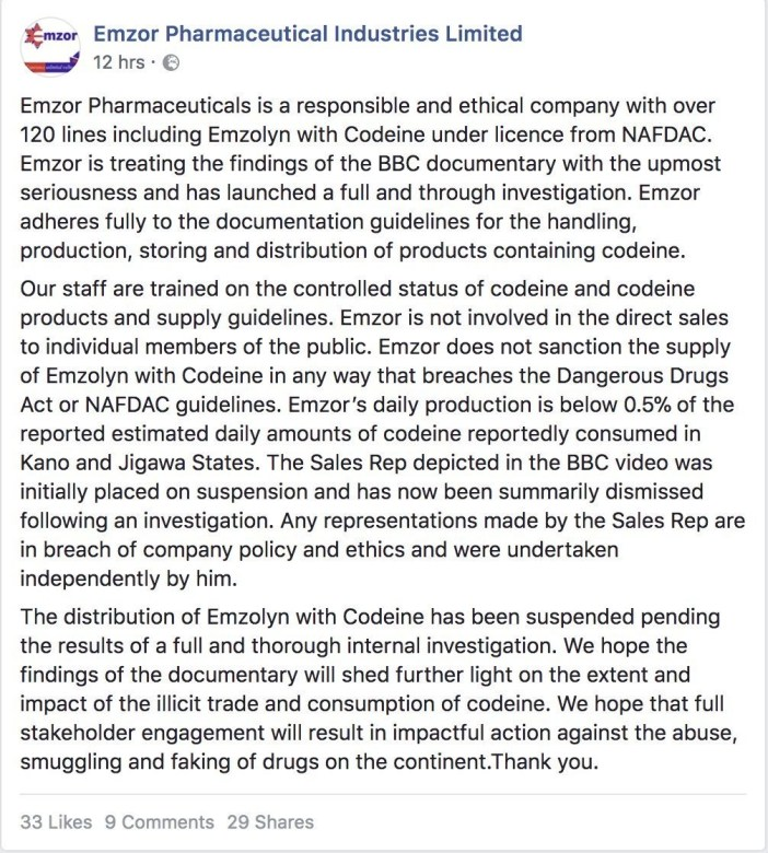 Emzor suspends distribution of cough syrup containing codeine following BBC documentary