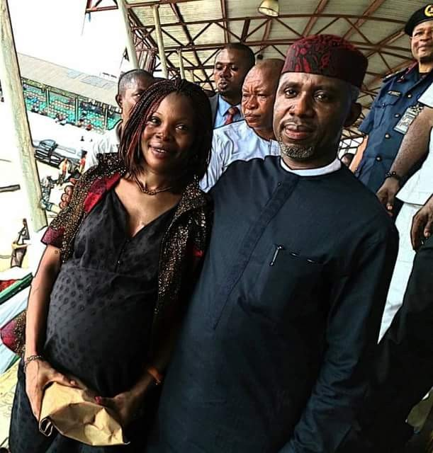 Workers Day: Governor Okorocha rewards pregnant woman with N1Million for taking part in match pass despite her condition