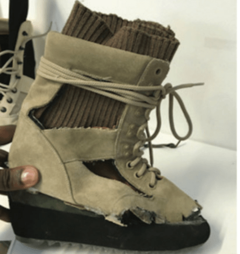 Kanye West dropped a sneak peak of his new boots but the internet is not having it!