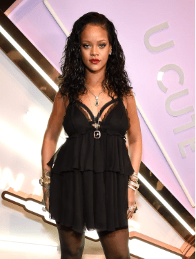 Rihanna steps out in a sexy negligee for her lingerie line launch in New York city