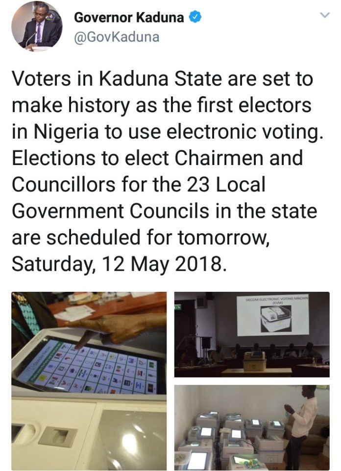 Kaduna State set to become the first in Nigeria to use electronic voting