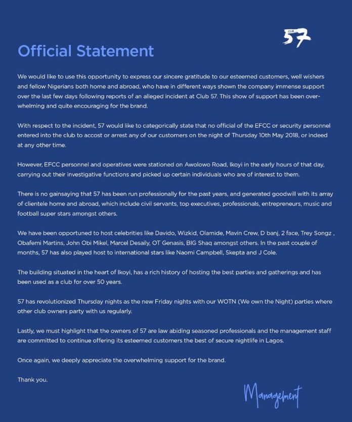 Club 57 denies EFCC arrested their customers last Thursday. Read their official statement!