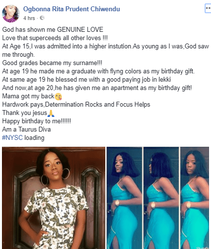 Beautiful Nigerian lady lists her achievements as she turns 20