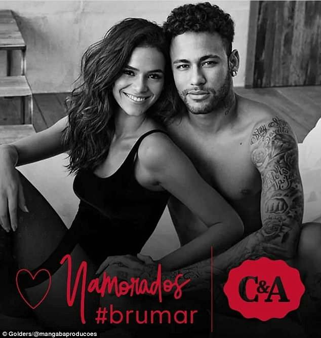 Neymar flashes his eggplant as he teams up with model girlfriend Bruna Marquezine for steamy Valentine