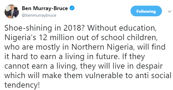 Ben Murray-Bruce reacts to Borno youths being empowered with Shoe shining kits, bags of oranges