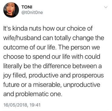 This tweet about marriage is filled with so much wisdom