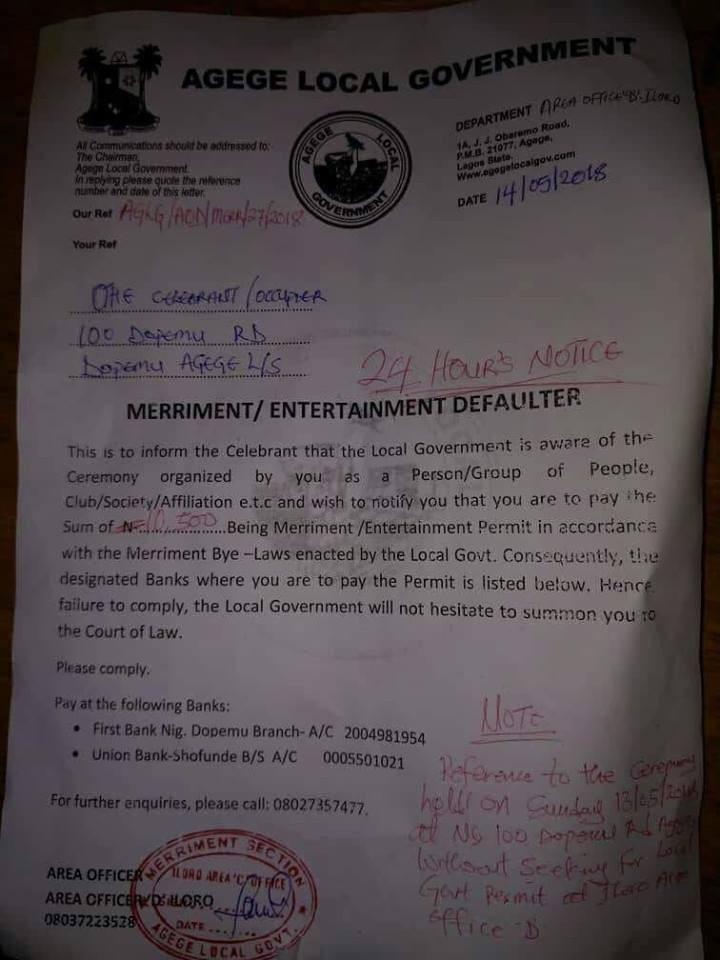Agege local govt officials reportedly ask resident to pay Merriment/Entertainment permit fee for hosting a party inside his compound
