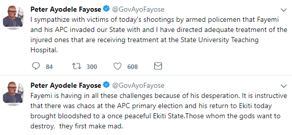 Governor Fayose reacts to bloodshed at APC rally, says Fayemi brought the policemen that shot at the rally