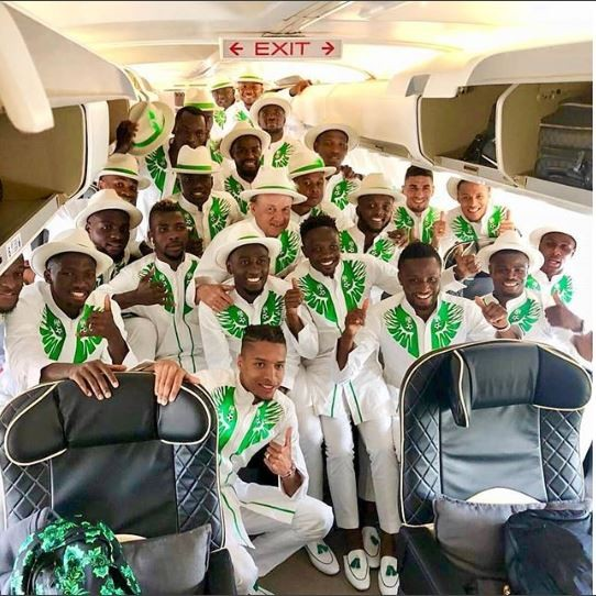 Nigeria Super Eagles squad in their matching white and green attires to Russia